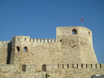 Castle of Tenedos. With a blue sky background stock images
