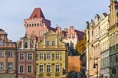 Castle and tenement houses in Poznan, Poland Stock Photo