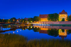 Castle of the Teutonic Order in Malbork at night Stock Photography