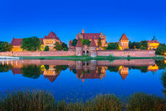 Castle of the Teutonic Order in Malbork at night Royalty Free Stock Images