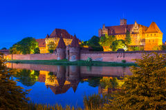 Castle of the Teutonic Order in Malbork at night Stock Images