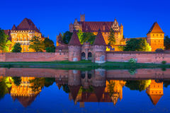 Castle of the Teutonic Order in Malbork at night Royalty Free Stock Photos