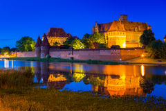 Castle of the Teutonic Order in Malbork at night Royalty Free Stock Image