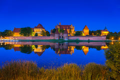 Castle of the Teutonic Order in Malbork at night Stock Image