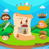 Castle theme with king and princess Stock Photo