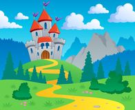 Castle theme landscape 1. Vector illustration Royalty Free Stock Image
