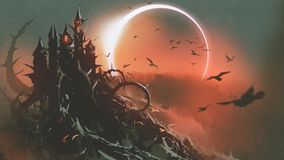 Castle of thorn with solar eclipse in dark sky stock illustration