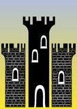 Castle with three towers. Illustration of a castle with three towers - You can change the bricks and colors easily Stock Photos