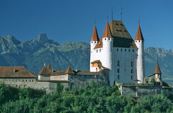 Castle Thun. Castle in the city of Thun, in background summit of Stockhorn stock image