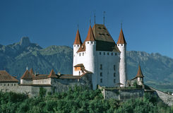 Castle Thun. Castle in the city of Thun, in background summit of Stockhorn stock photo