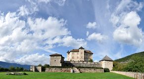 Castle Thun panorama. On a small hill near to the hamlet Vigo di Ton in Val di Non towers the Thun Castle. Built in the middle of the 13th century, it served as Royalty Free Stock Image