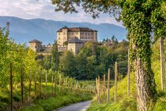 Castle Thun, Trentino Alto-Adige. The castle is located in the commune of Ton in the lower Val di Non, Trentino Alto Adige, Italy. Castle Thun. The castle is royalty free stock image