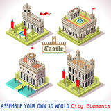 Castle 02 Tiles Isometric. Medieval Tiles for Online Strategic Game Insight and Development. Isometric 3D Flat Middle Age Castle with Towers and Flags. Explore Stock Photo