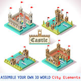 Castle 03 Tiles Isometric. Medieval Tiles for Online Strategic Game Insight and Development. Isometric 3D Flat Middle Age Castle with Towers and Flags. Explore Royalty Free Stock Images