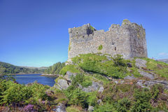 Castle Tioram above the lake stock photos