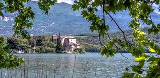 Castle Toblino - Calavino, Trentino Alto Adige. italy. Beautiful view of the castle on the shores of Lake Toblino, Trentino, Italy. All that remains of the stock photography