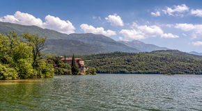 Castle Toblino - Calavino, Trentino Alto Adige. italy. Beautiful view of the castle on the shores of Lake Toblino, Trentino, Italy. All that remains of the stock images