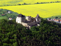 Castle Tocnik air photo. The ruins of castle Tocnik in the Czech Republic Stock Photos