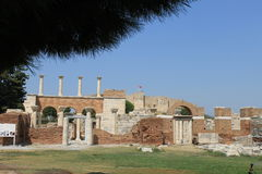 The castle and the tomb of Saint John in Selcuk Stock Photos