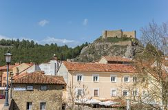 Castle on top of the hill in Aguilar de Campoo. Spain royalty free stock photos