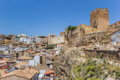 Castle on top of a hill overlooking Bunol. Spain stock photography