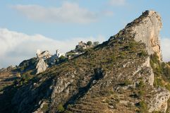 Castle on top of a mighty cliff in Spain royalty free stock images