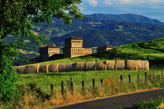 Castle of Torrechiara in Italy Stock Image