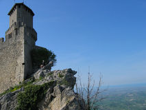 Castle tower. Tower of the castle on the hill in San Marino Royalty Free Stock Photography