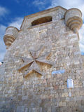 Castle tower. Tower with turrets in the residences of St. John knights on Mount Filerimos, Rhodes, Greece Royalty Free Stock Image