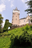 Castle tower. View at Zleby castle tower from the surounding park Stock Images