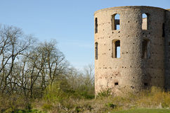 Castle tower. And some trees withs blue sky Royalty Free Stock Image