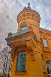 Castle tower against a dark sky Royalty Free Stock Photos