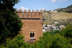 Castle tower, Alhambra Palace. Royalty Free Stock Image