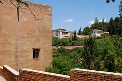 Castle tower, Alhambra Palace. Stock Photo