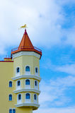 Castle tower. On the background of blue sky Stock Photography