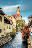 Castle tower in Cesky Krumlov, Czech republic. Autumn evening Stock Images