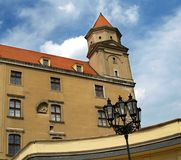 Castle tower detail. One of the four corner towers on ancient Bratislava Castle in Slovakia Royalty Free Stock Image