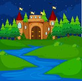 Castle tower in the field at night time. Illustration Stock Images