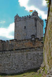 Castle tower with flag. Old castle tower with red and yellow flag royalty free stock images