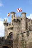 Castle with tower and flags Royalty Free Stock Photos