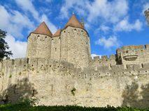 Castle tower. A castle tower in France, with a deep blue sky background Royalty Free Stock Photography