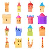 Castle tower icons set color, cartoon style Stock Photos