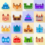 Castle tower icons set, flat style. Castle tower icons set. Flat illustration of 16 castle tower vector icons for web Stock Illustration