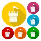Castle tower icons set with long shadow Stock Photography