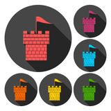 Castle tower icons set with long shadow Royalty Free Stock Photo
