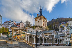 Castle Tower, Karlovy Vary, Czech republic. Castle Tower and Market Colonnade in the historical center of Karlovy Vary, Czech republic stock photo