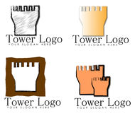 Castle Tower Logo Designs. Four castle tower logos with replaceable text for logo or slogan Royalty Free Stock Photo