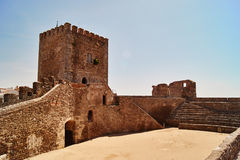 Castle tower and main sqyare of Monsaraz, in Portugal Stock Photos