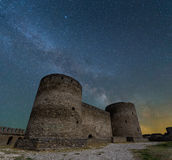 castle tower on a night sky background Stock Photography