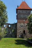 Castle Tower. Castle Tower and the remains of the renaissance castle walls surrounded by trees. Sunny weather in June. Country: Poland, Place: Chudow Stock Photography